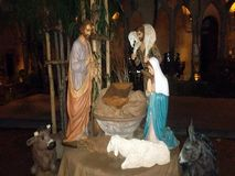Christmas nativity scene with life size figures. Christmas nativity scene, with life size figures in Sorrento in Italy, in the cloister of San Francesco, in the Stock Photo