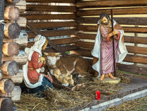 Christmas, Nativity scene. Christmas nativity scene. life-size statues of a nativity scene in a square in a small mountain village in Italy Stock Photography