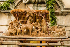 Christmas Nativity scene made of straw, Prague, Czech Republic Royalty Free Stock Images
