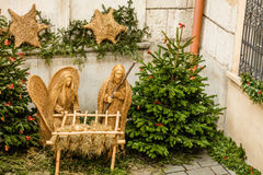 Christmas Nativity scene made of straw, Prague, Czech Republic Stock Photography