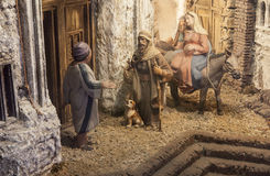 Christmas Nativity scene. Mary and Joseph's search for a place t. Badajoz, Spain - January 2016: Christmas Nativity scene. Diorama built by Local Association of Royalty Free Stock Photography