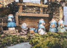 Free Christmas Nativity Scene. Nativity Statues Figurines With Protective Surgical Masks.Scene Of Born Child Baby Jesus Royalty Free Stock Images - 203506909