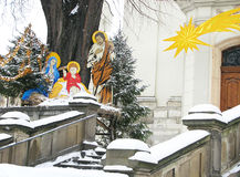 Christmas nativity scene near church in the winter day. Stock Photo