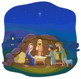 Christmas nativity scene. Christmas night. Birth of Jesus Christ in  Bethlehem. Josef, Mary and the Baby in the manger. Shepherds came to worship the King Stock Photos