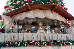 Christmas nativity scene in the old city of Jerusalem. JERUSALEM, ISRAEL- DECEMBER27, 2015: JERUSALEM, Christmas nativity scene in the old city of Jerusalem Stock Photos
