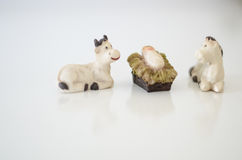 Christmas. Nativity scene over white background Stock Photography
