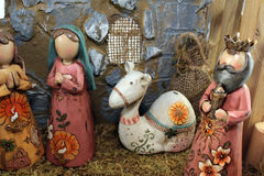 The Christmas nativity scene. A part of the Christmas nativity scene of the birth of Jesus depicted with figurines Stock Image