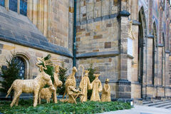 Christmas nativity scene in Prague, Prague castle, Czech Republ. Christmas nativity scene made of straw in Prague near the St. Vitus Cathedral on Prague castle Stock Image