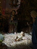 Christmas nativity scene represented with statuettes of Mary, Jo Stock Photo