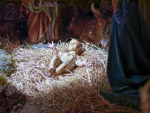 Christmas nativity scene represented with statuettes of Mary, Jo Royalty Free Stock Photography