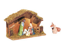 Christmas nativity scene represented with statuettes. Of Mary, Joseph and baby Jesus Stock Photo