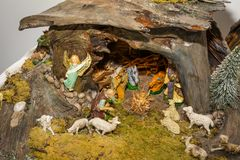 Christmas nativity scene represented with statuettes of Mary, Joseph and baby Jesus.  Stock Image