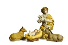 Christmas nativity scene with Shepard isolated on white. Background Royalty Free Stock Photos