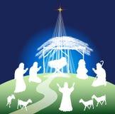 Christmas nativity scene silhouette. Hristmas nativity scene silhouette and shepherds - color Royalty Free Stock Photo