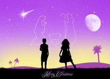 Christmas Nativity scene in the sky Royalty Free Stock Image
