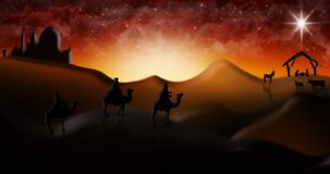 Christmas Nativity Scene Of Three Wise Men Magi Going To Meet Ba Royalty Free Stock Images