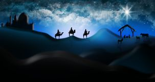 Christmas Nativity Scene Of Three Wise Men Magi Going To Meet Ba Royalty Free Stock Photo