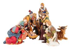 Christmas Nativity Scene. Traditional Christmas nativity scene with Mary and Joseph and baby Jesus isolated on a white background Royalty Free Stock Photo