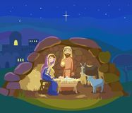 Christmas nativity scene. Vector Stock Photo