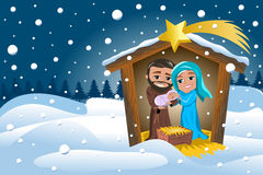 Christmas Nativity Scene Winter Snowy. Christmas nativity scene with Joseph holding newborn Jesus sleeping in his arms and Mary caressing him in a manger in a Royalty Free Stock Image