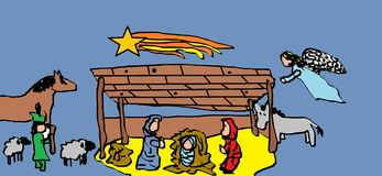 Christmas Nativity scenes. Christmas Nativity scenes (child's drawing on the computer Stock Photo