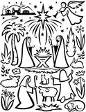 Christmas Nativity Set/eps. Simple, abstract illustration of a nativity scene in block print style Stock Photo