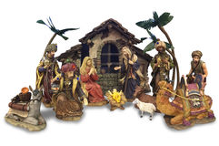 Christmas nativity set. Picture of Christmas nativity set showing Jesus, Mary, Joseph and the three wisemen and shepherds royalty free stock image
