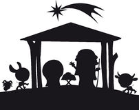 Christmas nativity silhouette illustration Royalty Free Stock Image