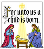 Christmas Nativity Verse/eps. Illustration of a nativity scene in bright colors with the holy family and a Christmas bible verse Royalty Free Stock Photo