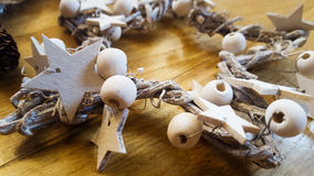 Christmas. Natural decoration with white wooden stars royalty free stock photos