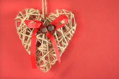 Christmas natural rope heart decorative ornament Stock Photos