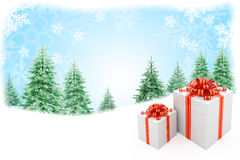 Christmas nature background with gift boxes Royalty Free Stock Images