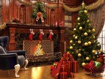 Christmas near a beautiful fireplace and a lot of gifts. Merry Christmas near a beautiful fireplace and a lot of gifts stock illustration