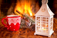 Christmas near fireplace Stock Images