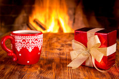 Christmas near fireplace Stock Photography