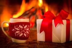 Christmas near fireplace Stock Photography