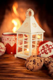 Christmas near fireplace Stock Photo