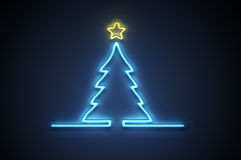 Christmas neon. Dark background with blue - yellow neon. A christmas tree with a star Stock Photos