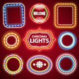 Christmas Neon Lights Frames with a Copy Space Set2. For Casino or Christmas Design. Used pattern brushes included Royalty Free Stock Images