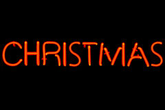 Christmas neon sign Stock Photos