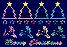 Christmas neon sign - colorful colors set vector illustration