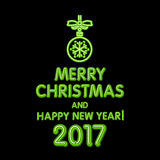 Christmas neon sign. Vector Illustration. green merry Christmas and happy new year 2017 neon, light color toy. Art Stock Photos