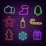 Christmas neon signs vector illustration for winter holidays. royalty free illustration
