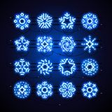 Christmas Neon Snowflakes Blue Magic. Set of blue Christmas neon snowflakes with magic glitter makes it quick and easy to customize your holiday projects. Used Royalty Free Stock Photography