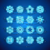 Christmas Neon Snowflakes Blue. Set of blue Christmas neon snowflakes makes it quick and easy to customize your holiday projects. Used neon vector brushes Royalty Free Stock Photography
