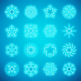 Christmas Neon Snowflakes. Set of Christmas neon snowflakes makes it quick and easy to customize your holiday projects. Used vector brushes included Stock Photo