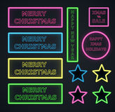 Christmas neons frame on dark background Royalty Free Stock Photos
