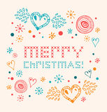 Christmas netting banner. Scandinavian style knitted pattern with hearts and snowflakes Royalty Free Stock Photo