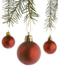 Christmas new 3. Christmas ornaments hanging  on white background Stock Photo