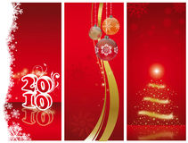 Christmas and new year. Banner of christmas and new year 2010 decorations with number balls and christmas tree on a red background Stock Illustration